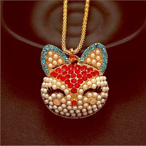 NWT Betsey Johnson Crystal Pearl Fox 🦊 Necklace